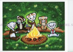"Art by Shelly Mundel. Ferret People Collection ""WEEZ camping LES""   8x10 inch !"