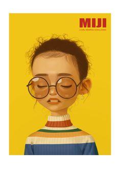 ArtStation - A girl wearing sunglasses, miji lee Art And Illustration, Illustrations And Posters, Character Illustration, Kunst Inspo, Art Inspo, Portrait Art, Art Tutorials, Cute Art, Caricature