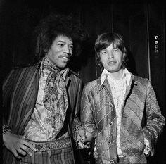 #Sixties   Jimi Hendrix and Mick Jagger