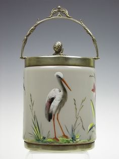 Antique taupe coloured Bristol glass biscuit barrel with enamelled decoration by art-of-glass