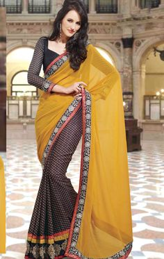 Dark Brown and Mustard Yellow Party Wear Saree With Blouse (HSPPEP1407) - OnlineDesignerStore.com