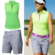 OOTD: JoFit Jacquard Sleeveless Top & Grey Buffalo Belted Short #golf4her #OOTD #golfclothes #fashioncaddy