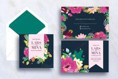 Wedding Flower Invitation Card by stockhype on Creative Market