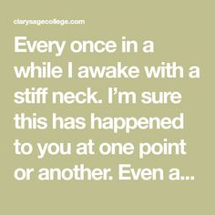 """Every once in a while I awake with a stiff neck. I'm sure this has happened to you at one point or another. Even as a massage therapist, the way I often choose to deal with it was to just live with it and hope it goes away soon. But I know the culprit was … Continue reading """"Two at Home Treatments for Neck Pain"""""""