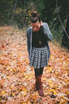 Fall outfit ideas - skirt, tights, tee, cardigan  and boots. Perfection.