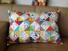 mona w.: Scrappy pillow ... ein buntes Kissen ...