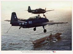 Grumman Tbm | TBF-1Cs of Torpedo Squadron Two (VT-2) pass over USS Hornet (CV-12 ...