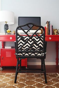 Love a pop of red in my interior design #interiordesign #red #decor Love the chair. Now to find one with wheels.
