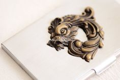 Victorian Dragon Stainless Steel Business Card by blackpersimmons