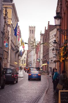 View of the Belfry in Brugge (Bruges), Belgium in winter for Christmas.