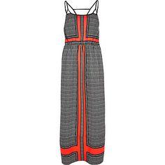 Coral colour block strappy maxi dress $70.00