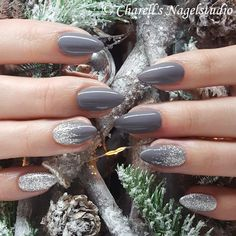 Grey & Silver Glitter Nails 😍✨ - Skin beauty is one of the most sensitive a. - Grey & Silver Glitter Nails 😍✨ – Skin beauty is one of the most sensitive areas for women. Grey Acrylic Nails, Silver Glitter Nails, Almond Acrylic Nails, Gray Nails, Glitter Manicure, Cute Nails, Pretty Nails, Grey Nail Designs, Grey Nails With Design