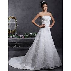 o linie / Princess fara bretele Curtea dantelă trenul peste rochie de mireasa din satin – EUR € 206.24