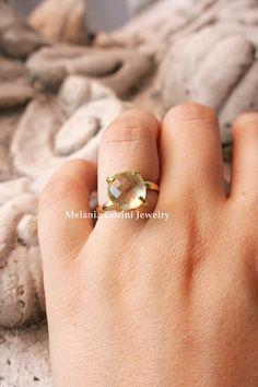 LEMON QUARTZ vermeil stackable ring by MelaniaGoriniJewelry
