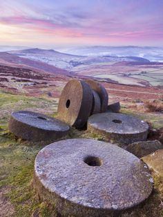 Stanage Edge Wheelstones (Millstones) and Frosty Winter Moorland Sunrise, Peak District National Pa