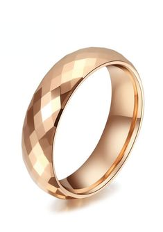 This exquisite line of cobalt-free faceted ring band is made from high grade Tungsten Carbide with superior nickel binder alloy. The beautiful ROSE GOLD band is evident in its 288 diamond shaped facets and lustrous fine polished finish.  This faceted ring can be worn as a Wedding Band or Promise Ring by men or women. This style is available in 4mm and 6mm for couples who want a matching pair. Rose gold tungsten wedding bands are truly unique for those who want to stand out from the crowd!