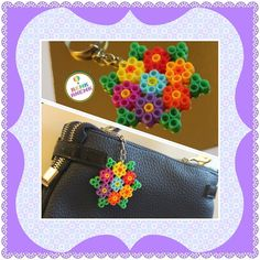 Flower keyring hama beads by renk__ahenk