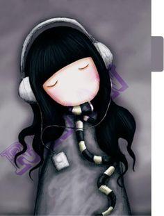 CUTE CUTE CUTE!  Gorjuss Girl Planner Dividers A5 size Set 1 by RemanDesignStudio