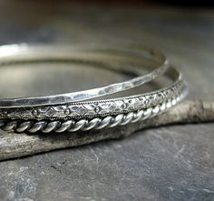 Set of 3 sterling stacking bangles .....from Lavender Cottage Jewelry