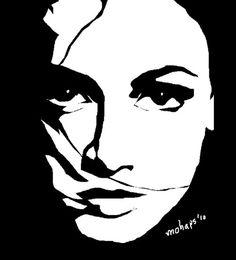 Black and White Face Art - Bing images Lino Art, Black Paper Drawing, Posca Art, Dark Art Drawings, Silhouette Art, Stencil Art, Linocut Prints, White Art, Black White