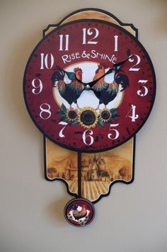 18 in. Rooster Design Pendulum Clock for your Mother for Mother`s day, excellent gift!!