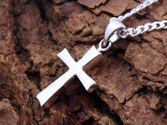 cac33ee68da9 Sterling silver Unisex Cross. Cross for mens necklace. Silver Cross  Pendant. high relief