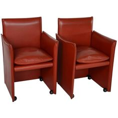 Pair of Mario Bellini Lounge Chairs for Cassina, Italy, Labeled | From a unique collection of antique and modern armchairs at https://www.1stdibs.com/furniture/seating/armchairs/