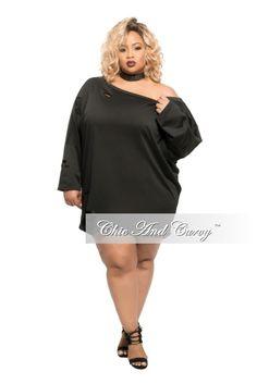Plus Size Tunic Dress in Distressed Dark Denim – Chic And Curvy ...