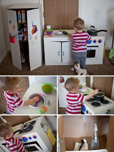 Landon's very own kitchen. He looooooooves it. :) And the best part? It didn't cost me ANYTHING.   It all started with Pinterest. I'm seriou...
