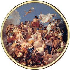 A morada dos deuses era o cume do Monte Olimpo, na Tessália. Uma porta de nuvem, da qual tomavam conta as deusas chamadas Estações, abria-se a fim de permitir a passagem dos imortais para a Terra e para dar-lhes entrada, em seu regresso. Os deuses tinham moradas distintas; todos, porém, quando convocados, compareciam ao palácio de Júpiter, do mesmo modo que faziam as divindades cuja morada habitual ficava na Terra  nas  águas, ou embaixo do mundo.