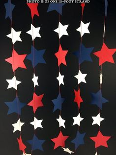 Red, White and Blue Star Garland: Patriotic Garland, Fourth of July Garland, Red White Blue Garland, Red White Blue Decor - Patriotic Crafts, July Crafts, 4th Of July Party, Fourth Of July, Star Garland, Blue Party, Red White Blue, Navy Blue, Yarn Crafts