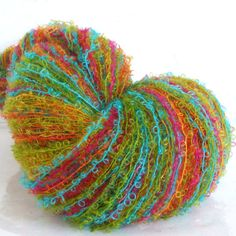 Hand Painted Mohair Boucle Yarn - Rock It - 100 yds