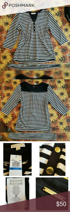 NWT Michael Kors B & W Striped 3/4 Sleeve Top Snap closure down chest. Brand new with tags. Beautiful top. Michael Kors Tops