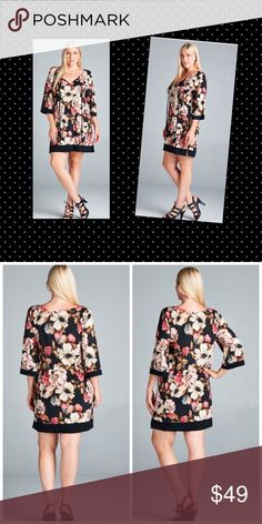 💖💖AVAILABLE FRIDAY 💖💖 Flirty Floral Dress 96% Polyester 4 Spandex Dresses