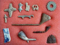 Shawnee Indian trade items, many Native made / altered, 1770s to 1790s, Mad River drainage, Ohio. Collection of Greg Shipley. *trade goods fur trade trade silver Native American Indian artifacts historic ax axe tool French & Indian War Spanish Colonial effigy fetish lead*