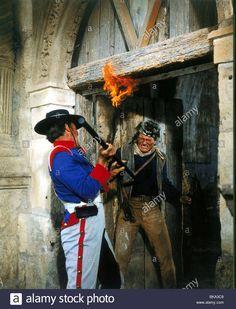 THE ALAMO - A Mexican soldier drives a lance through the abdomen of a Davy Crockett (John Wayne) - Produced & Directed by John Wayne - United Artists - Publicity Still. Patrick Wayne, John Wayne, Alamo Movie, Alamo San Antonio, Ken Curtis, Mexican Army, Frankie Avalon, Sam Houston, Actor John