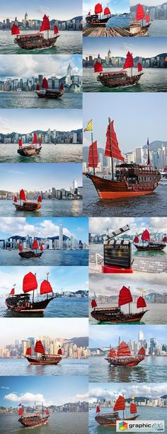 Hong Kong traditional red-sail Junk boat on city skyscrapers background  stock images