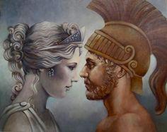 Venus And Mars Painting  - Geraldine Arata: Tags: mars, venus, ares, aphrodite, afrodite, olympians,