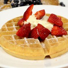 Brunch is Vanilla Mascarpone Waffle time! Terrazza Lounge at Hotel Casa del Mar in Santa Monica, California.