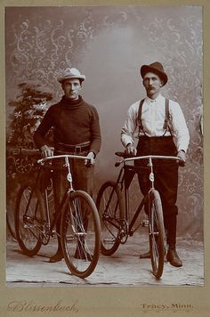 +~+~ Antique Photograph ~+~+  Men with their bicycles.  Tracy, Minn.