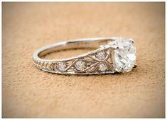 Antique engagement ring with a 1.49 carat Old Mine cut center diamond in platinum. #diamondengagementring