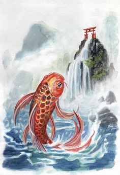 Koi swimming to the Dragon Gate Goldfish Tattoo, Koi Dragon, Carnival Birthday Parties, Angel Cards, Best Credit Cards, Tattoo Sleeve Designs, Loving Your Body, Body Art Tattoos, Arm Tattoo