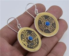 Balinese Coin Lapis Lazuly 925 Sterling Silver Earrings by Gingsir