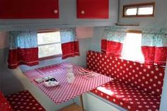Love the camper cushions (not with that table) and the curtians