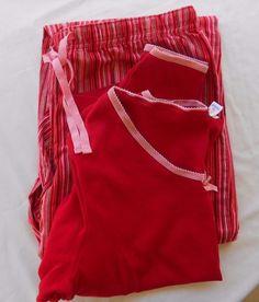 GAP Woman's Size L Pajama Sleep Wear Set Pink Red Striped Pants Long Sleeve Top #Gap #PajamaSets #Everyday Sold.