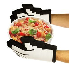 Oven Gloves for both hands in a cool retro pixel look.