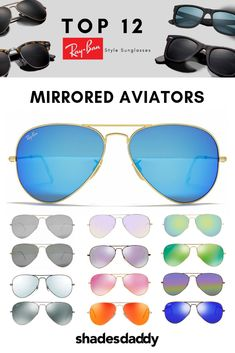 ae66ed7878 Ray-Ban Classic Mirrored Aviator Sunglasses Available at shadesdaddy.com  Oversized Round Sunglasses
