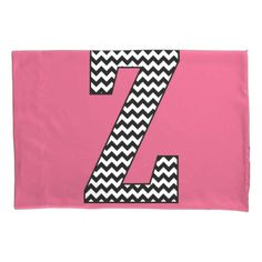 Black & White Chevron Z Monogram Pillowcase