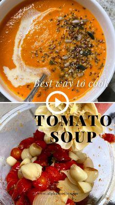 Fresh Tomato Soup, Vegan Tomato Soup, Tomato Recipe, Roasted Tomato Soup, Tomato Soup Recipes, Healthy Soup Recipes, Vegetarian Recipes, Cooking Recipes, Canned Roasted Tomatoes Recipe