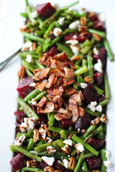 Balsamic Green Beans & Beets With Pecans, Bacon & Goat Cheese - Love Beets